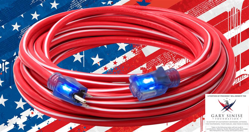 Freedom Cord with US Flag Background and Gary Sinise Foundation Logo