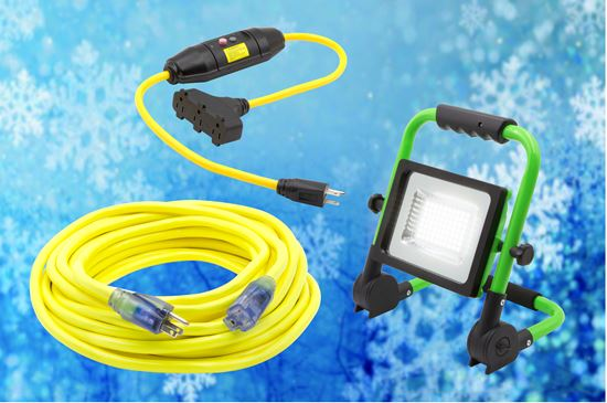 Jobsite Essentials pack: 3' GFCI Tri Tap Adaptor, 50' Lighted Extension Cord, 5000LM LED Worklight