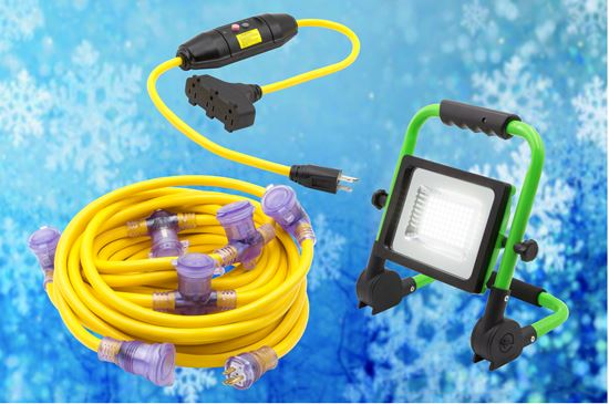 Holiday Decoration Pack: 3' GFCI Tri Tap Adapter, 50' Multi Outlet Extension Cord, 5000LM LED Worklight