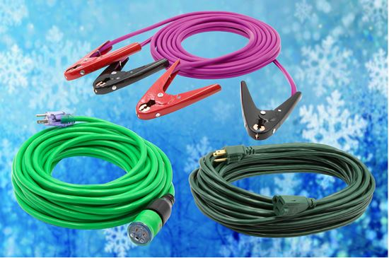 Ready For Anything Pack: 16' Battery Booster Cable (Purple), 50' outdoor extension cord (Dark Green), 50' locking extension Cord (green)