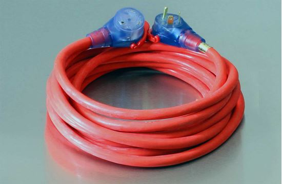 25 Foot 10/3 STW Bad Ass 30A RV Lighted Extension Cord Red