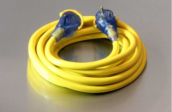25 Foot 10/3 STW Bad Ass 30A RV Lighted Extension Cord Yellow