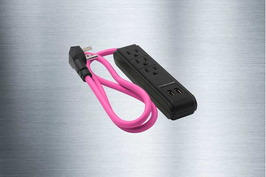 Picture of 3 Outlet Grounded Surge Protector + 2 USB Charging Ports 300 Joules