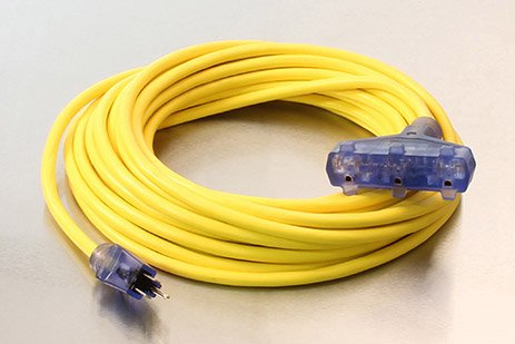 Picture of 50 Foot 12/3 SJTW General Purpose Lighted Triple Tap Extension Cord