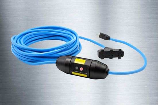 Picture of 100 Foot 12/3 SJTW In-Line GFCI Triple Tap Extension Cord