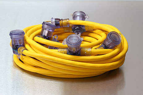Picture of 50 Foot 12/3 STW Bad Ass 5 Outlet Outdoor Power Cord, Yellow