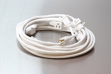 Picture of 30 Foot 14/3 SJTW 7 Outlet Power Cord, White