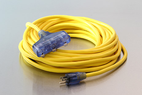 Picture of 25 Foot 12/3 SJEOW Bad Ass Cold Weather Lighted Triple Tap Extension Cord