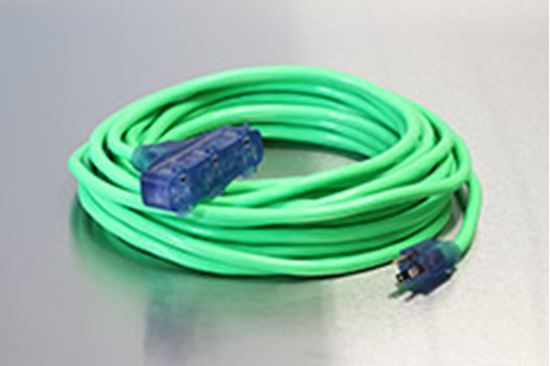 Picture of 50 Foot 10/3 SJTW Industrial Grade Lighted Triple Tap Extension Cord