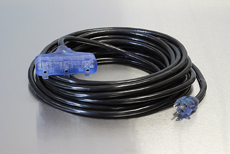 Picture of 25 Foot 12/3 SJTW Bad Ass Industrial Grade Lighted Triple Tap Extension Cord
