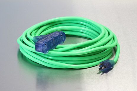 Picture of 50 Foot 12/3 SJTW Bad Ass Industrial Grade Lighted Triple Tap Extension Cord